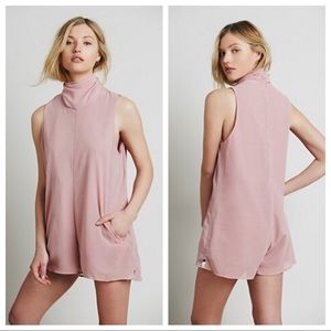 One Teaspoon Dynasty Pink Romper with high neck